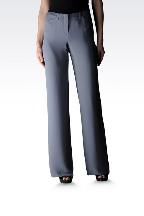 palazzo pants in pure silk: Wide-leg trousers Women by Armani - 1