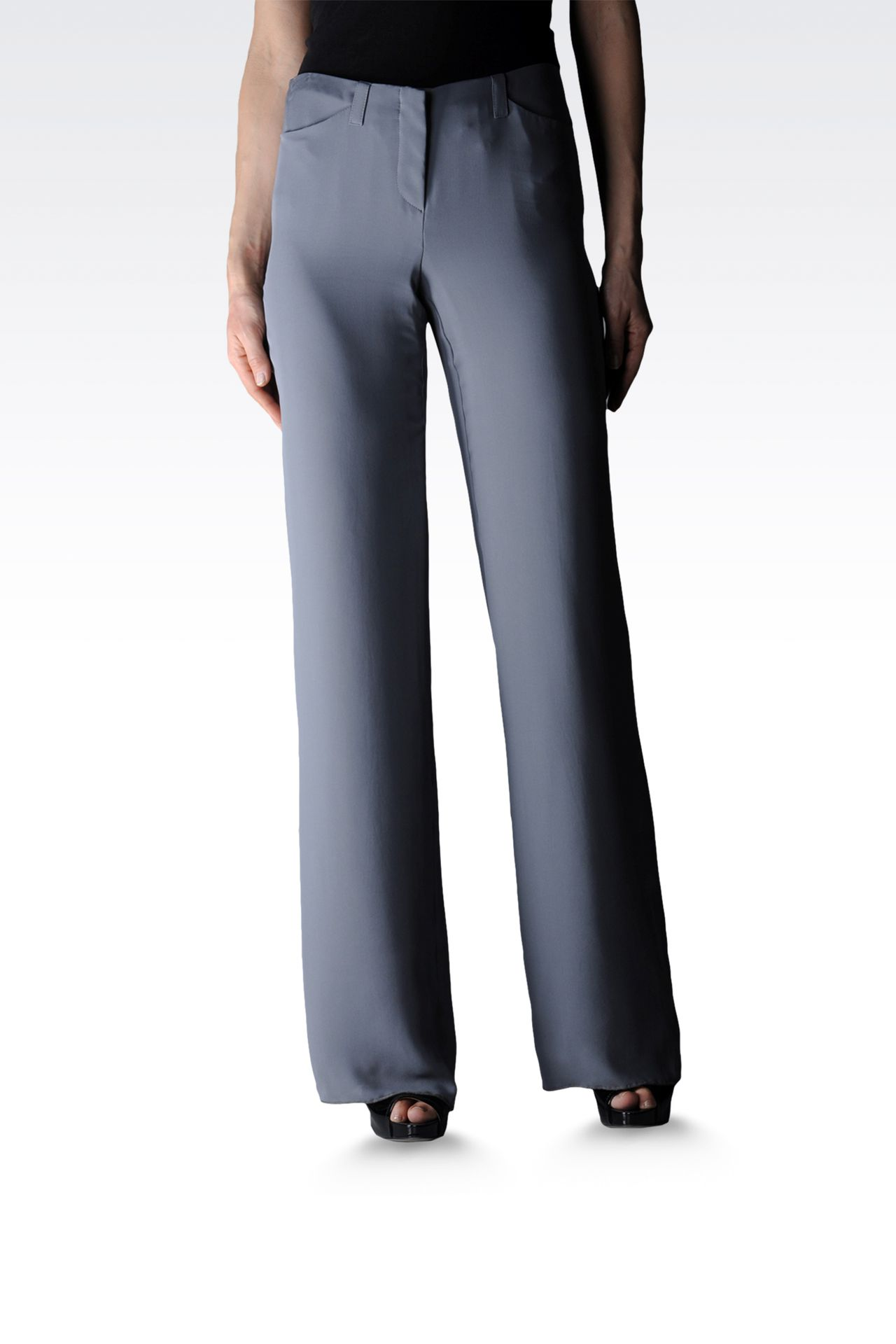 palazzo pants in pure silk: Wide-leg trousers Women by Armani - 0