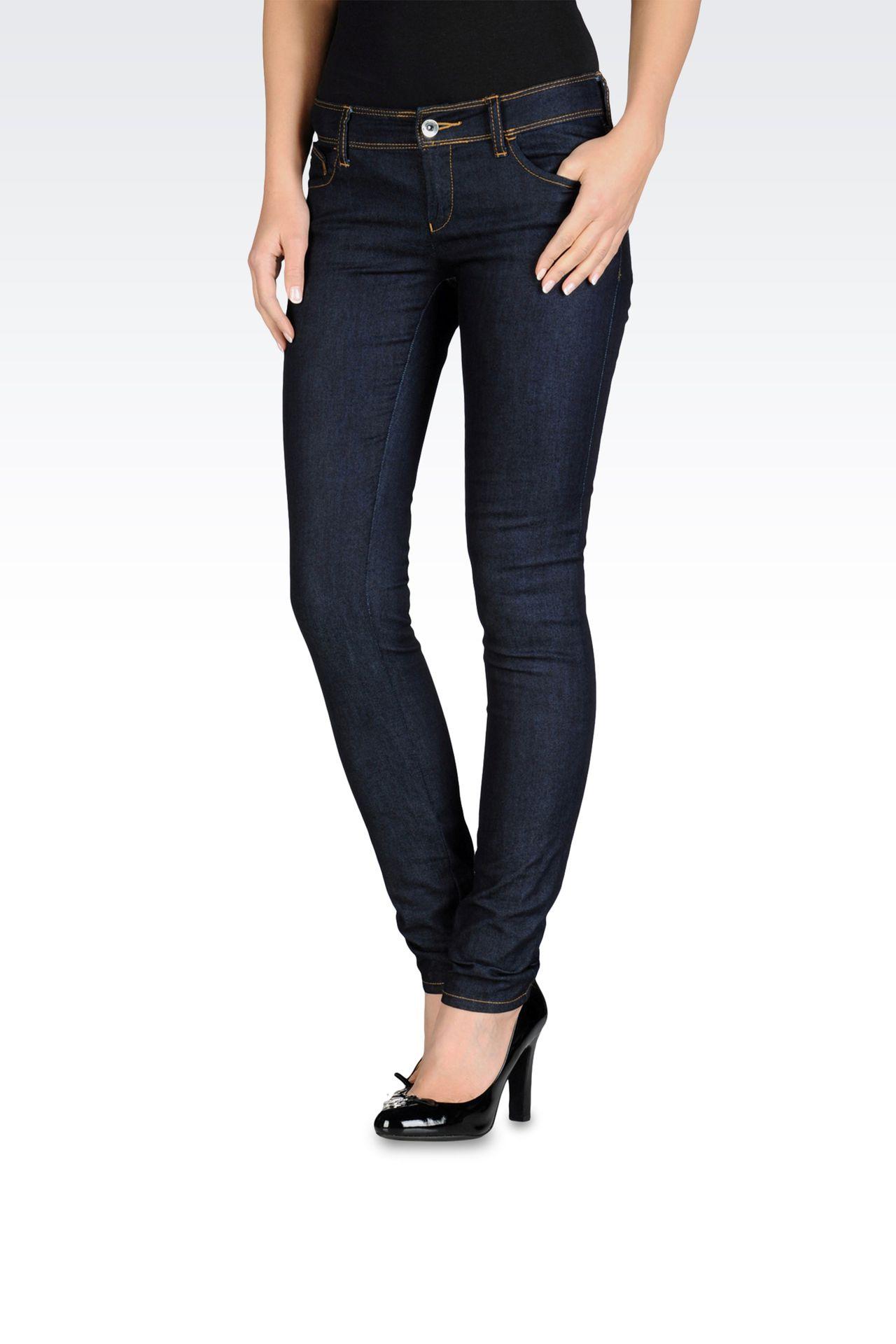 Skinny jeans, blue black wash: Jeans Women by Armani - 0