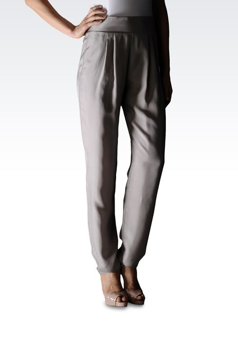 SILK PANTS WITH ELASTIC WAIST: Pants with tucks Women by Armani - 1