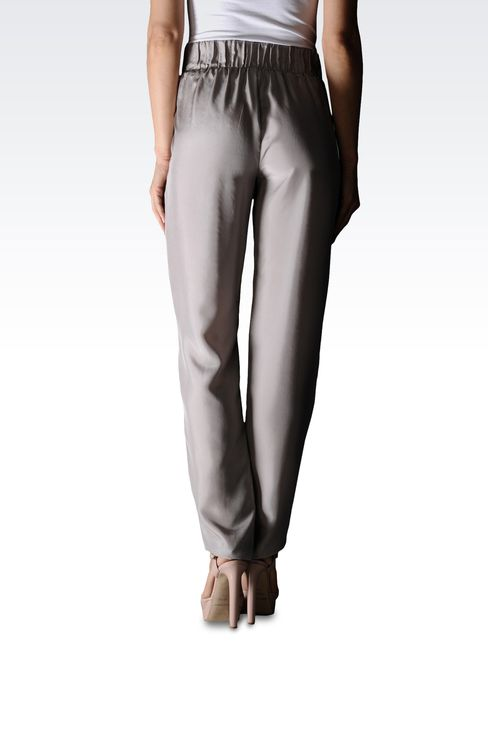 SILK PANTS WITH ELASTIC WAIST: Pants with tucks Women by Armani - 2