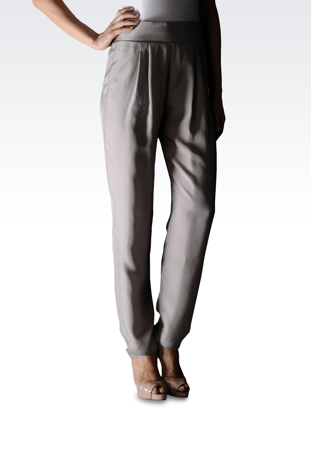 SILK PANTS WITH ELASTIC WAIST: Pants with tucks Women by Armani - 0