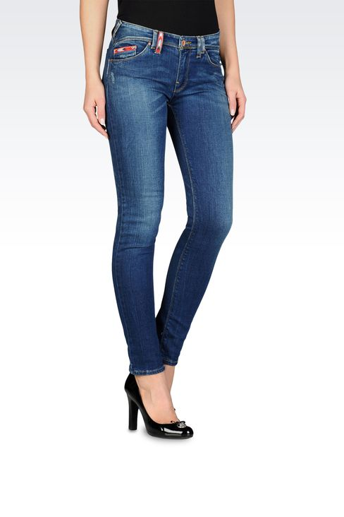 Slim fit ripped jeans, dirty wash: Jeans Women by Armani - 1