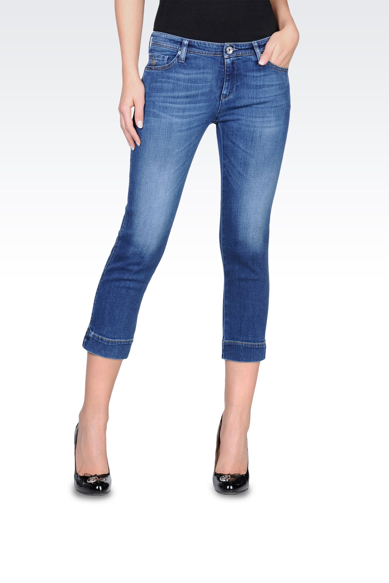 Slim fit jeans, vintage look, medium wash: Jeans Women by Armani - 0