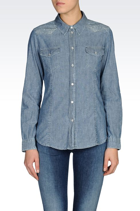 SHIRT IN INDIGO STRETCH CHAMBRAY: Long sleeve shirts Women by Armani - 1