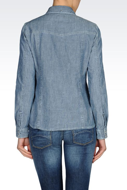 SHIRT IN INDIGO STRETCH CHAMBRAY: Long sleeve shirts Women by Armani - 2