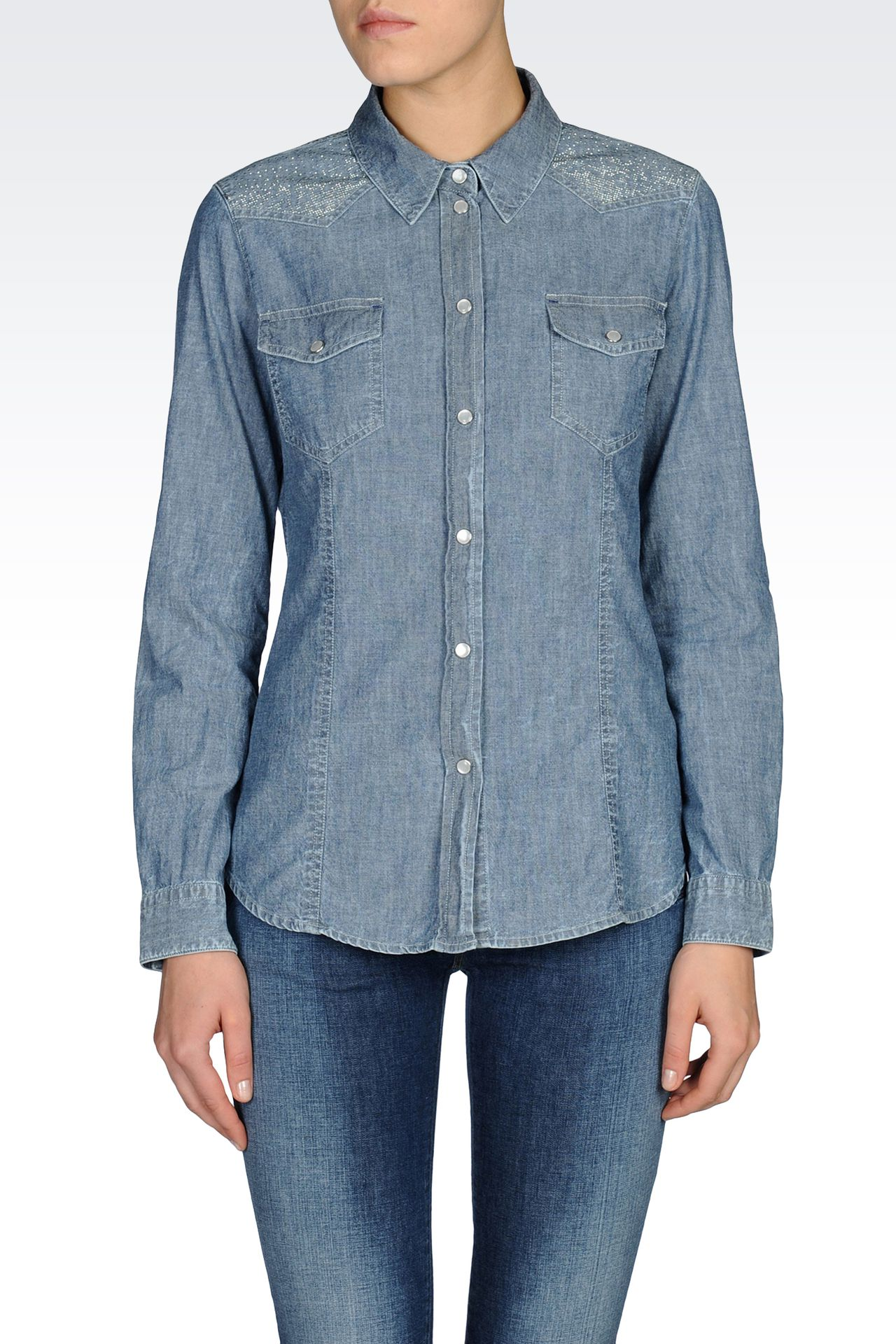 SHIRT IN INDIGO STRETCH CHAMBRAY: Long sleeve shirts Women by Armani - 0
