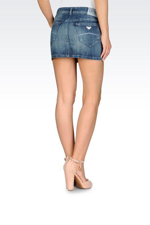 MINISKIRT IN VINTAGE BLUE STRETCH DENIM: Denim skirts Women by Armani - 2