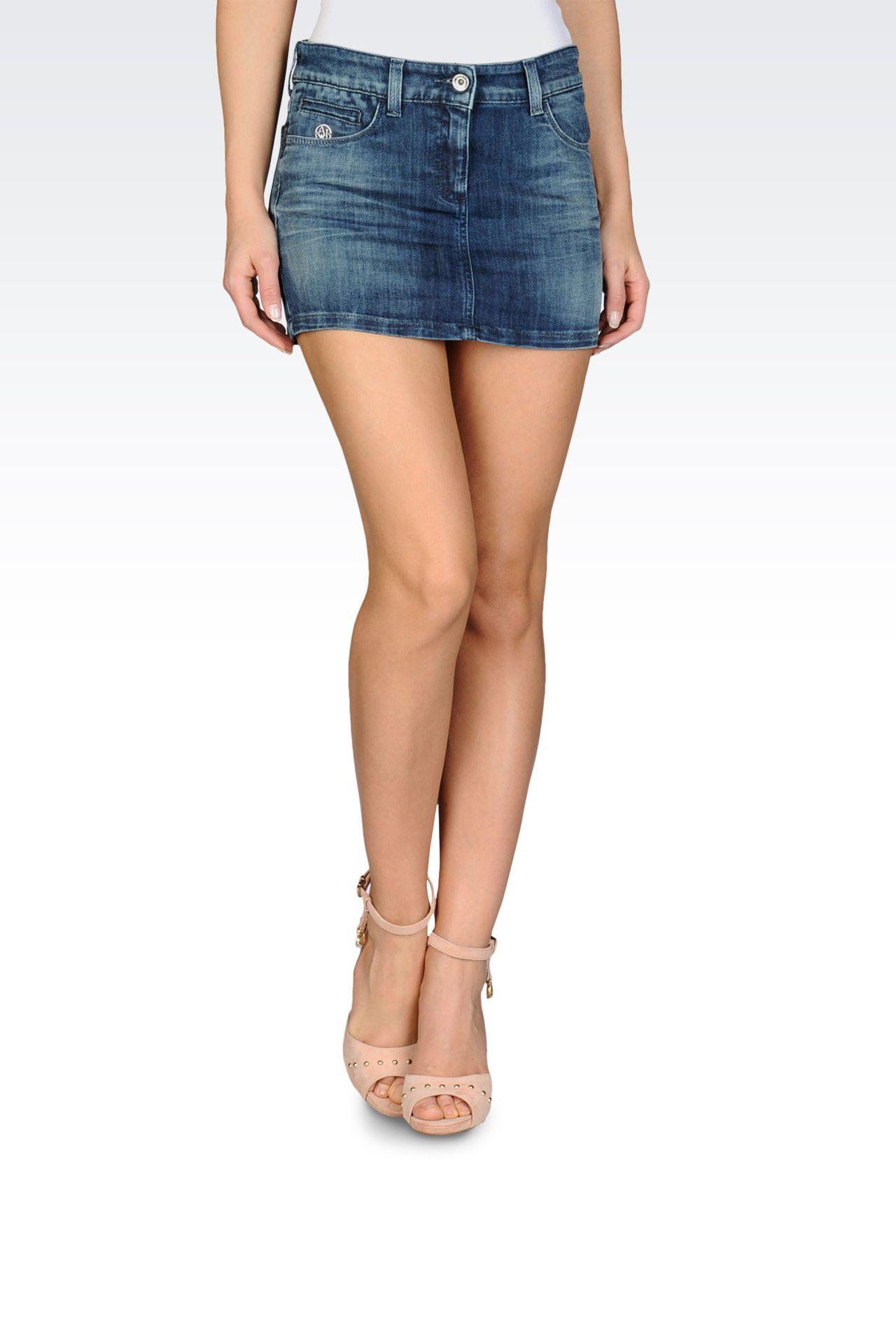 MINISKIRT IN VINTAGE BLUE STRETCH DENIM: Denim skirts Women by Armani - 0