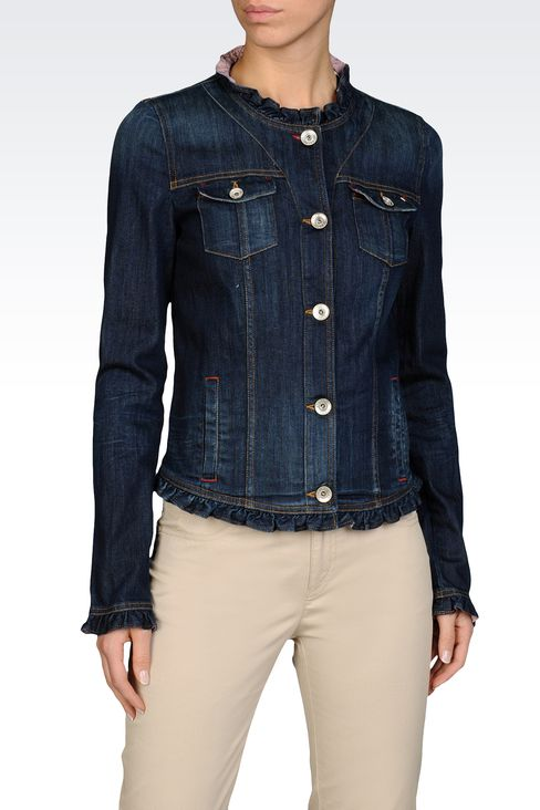Armani Jeans Women STRETCH DENIM JACKET WITH GATHERS AT COLLAR AND ...