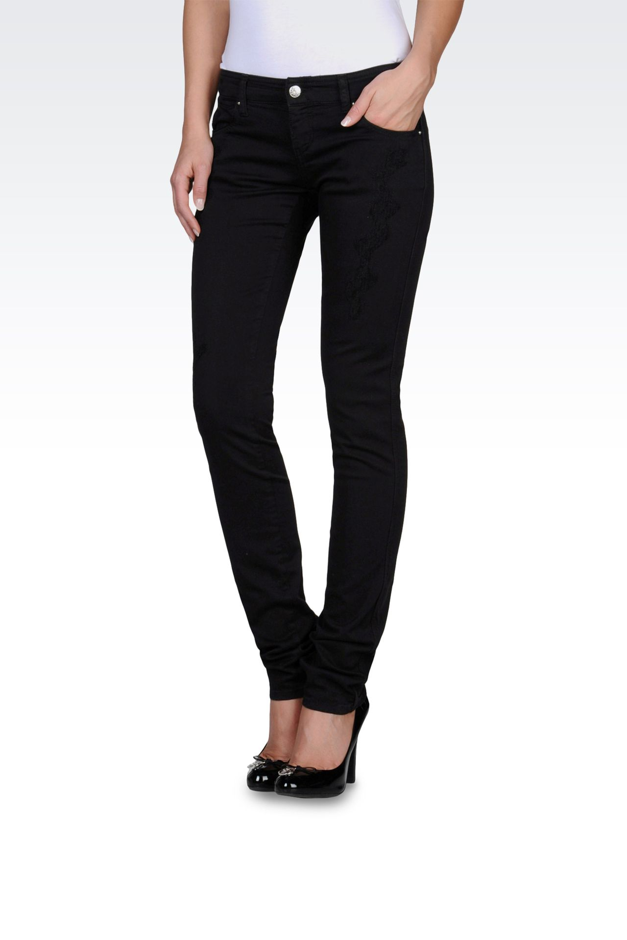 Stretch drill ripped skinny jeans: 5 pockets Women by Armani - 0