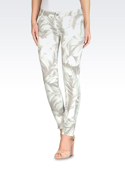 STRETCH COTTON PANTS WITH FLORAL PRINT: 5 pockets Women by Armani - 1