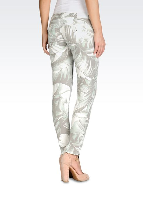 STRETCH COTTON PANTS WITH FLORAL PRINT: 5 pockets Women by Armani - 2