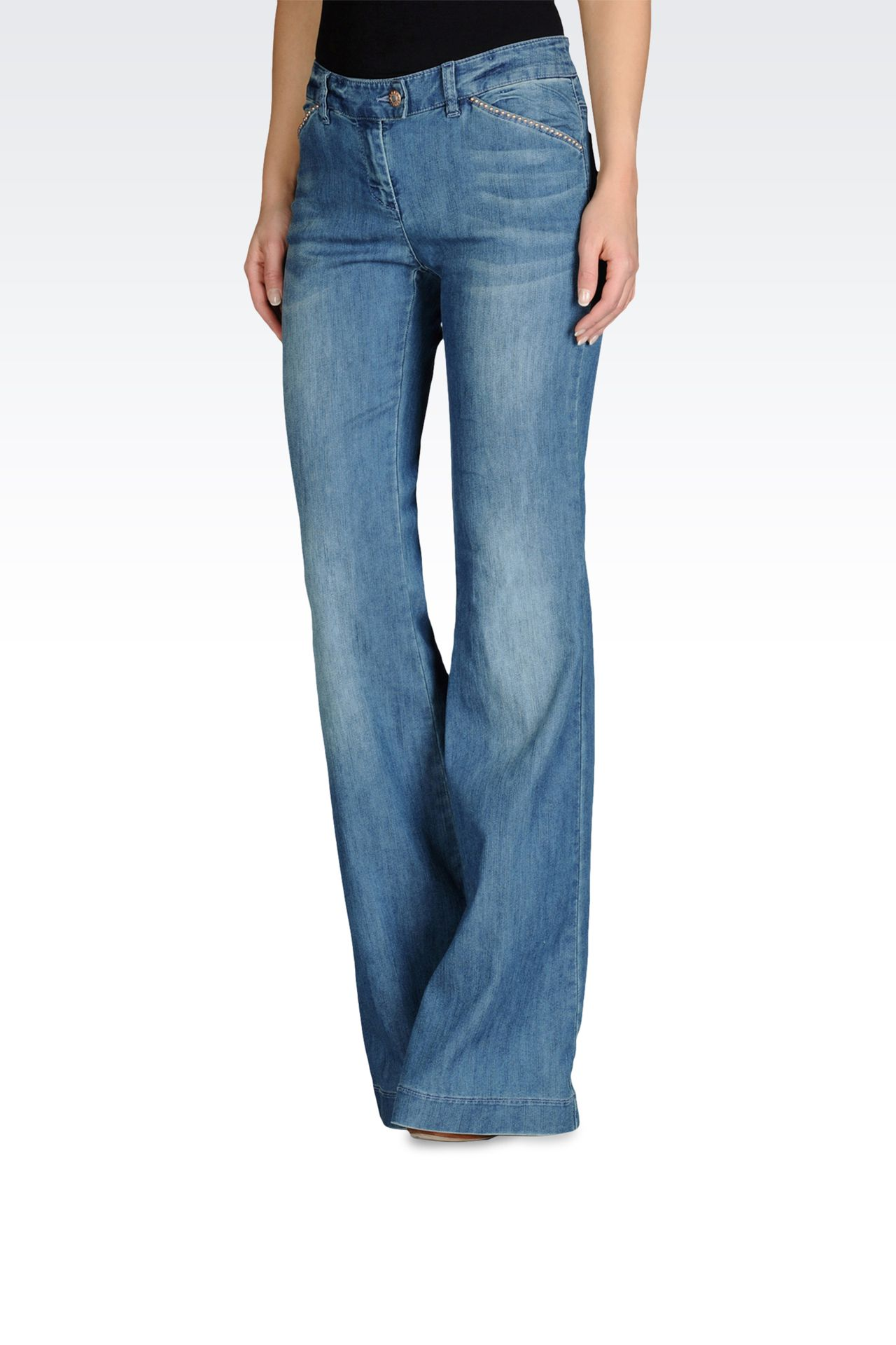 LOW RISE JEANS FLARED LEG WITH APPLIQUES: Jeans Women by Armani - 0