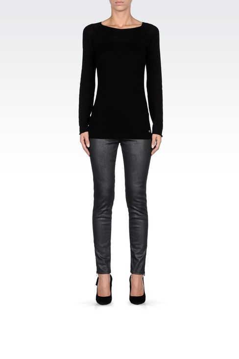 METALLIC SKINNY JEANS: Jeans Women by Armani - 1