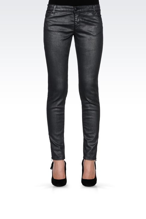 METALLIC SKINNY JEANS: Jeans Women by Armani - 2