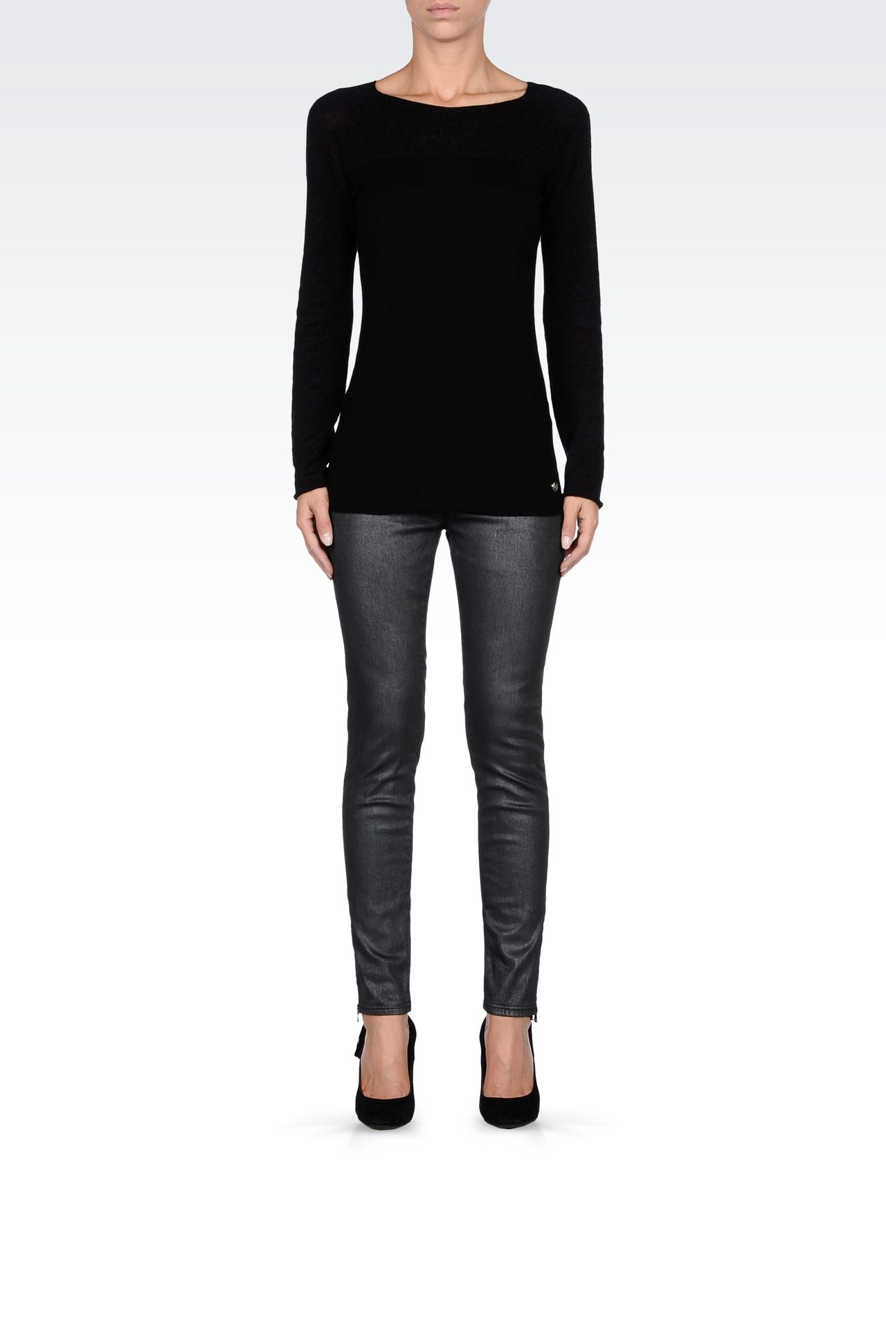 METALLIC SKINNY JEANS: Jeans Women by Armani - 0