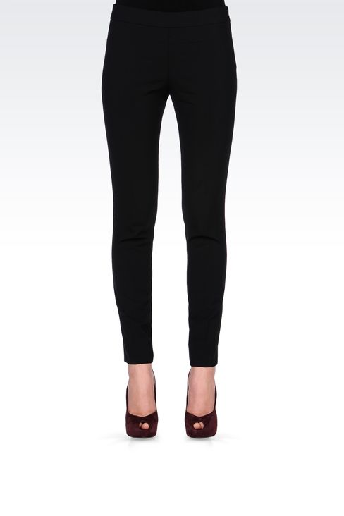 SLIM FIT PANTS IN STRETCH WOOL: Straight leg trousers Women by Armani - 2