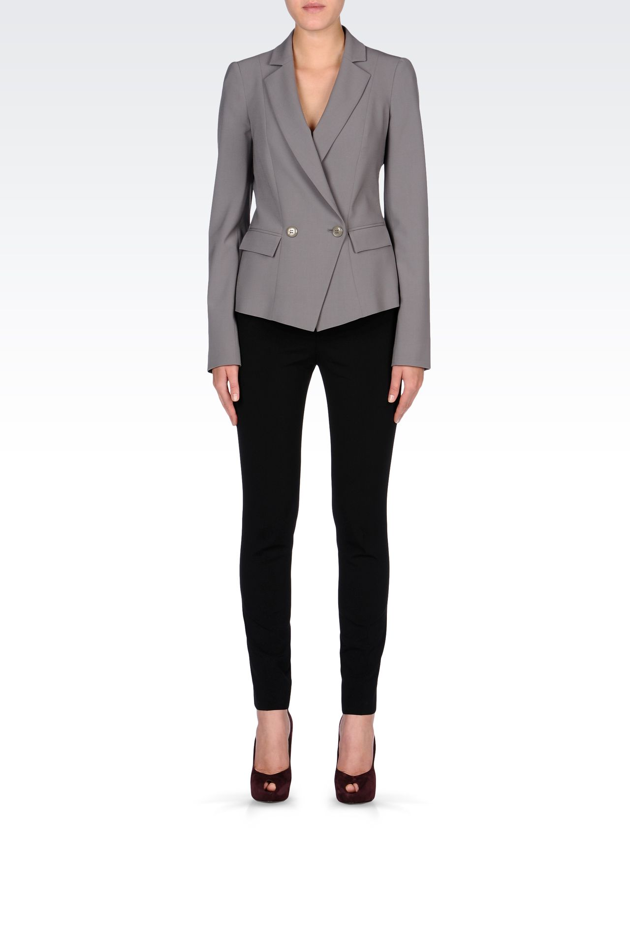 SLIM FIT PANTS IN STRETCH WOOL: Straight leg trousers Women by Armani - 0