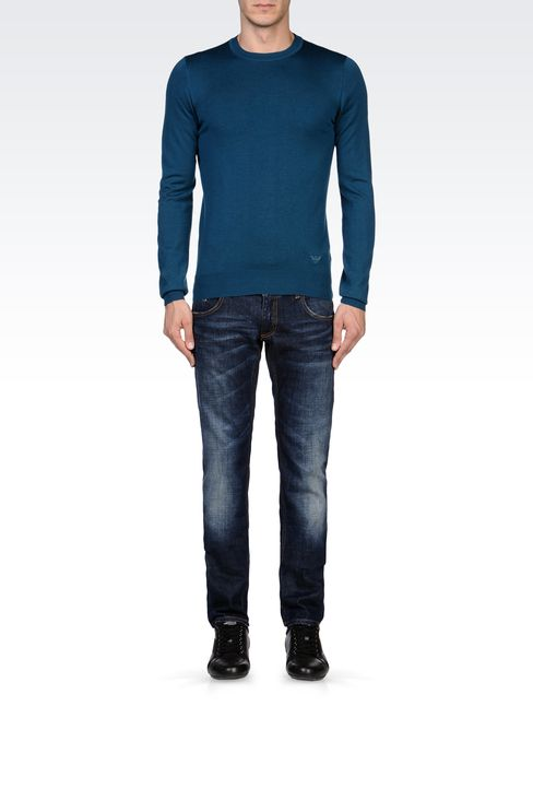 SKINNY MEDIUM BLUE JEANS: Jeans Men by Armani - 1