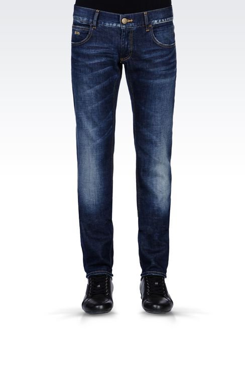 SKINNY MEDIUM BLUE JEANS: Jeans Men by Armani - 2
