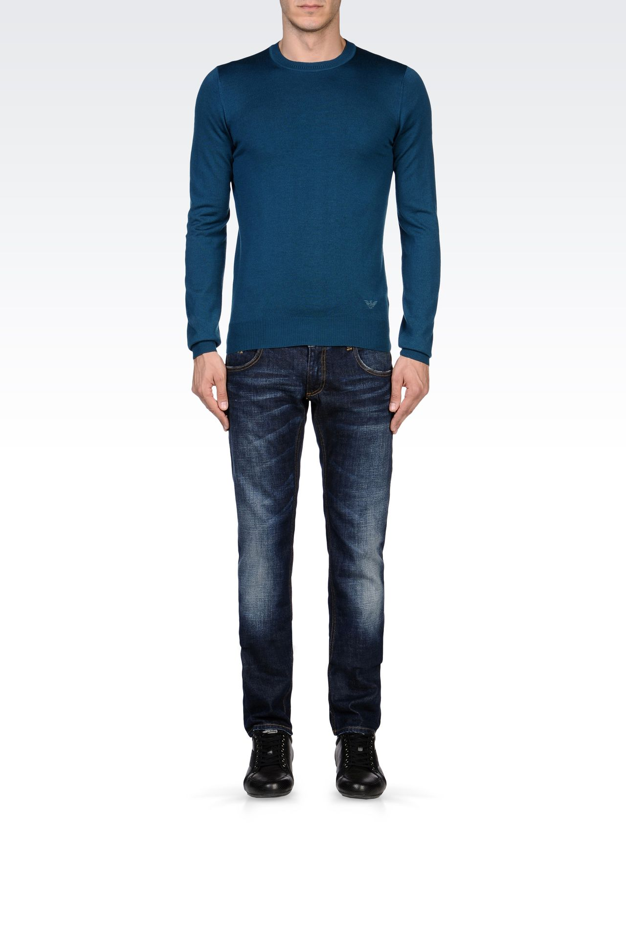 SKINNY MEDIUM BLUE JEANS: Jeans Men by Armani - 0