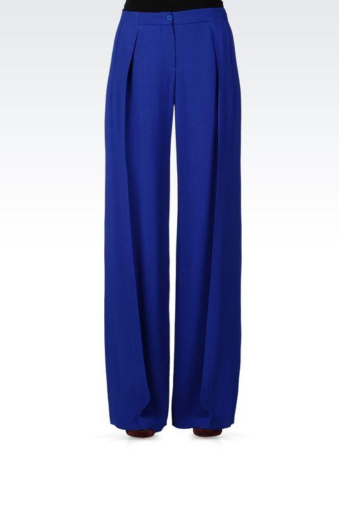 PALAZZO PANTS IN CRÊPE: Pants with tucks Women by Armani - 2