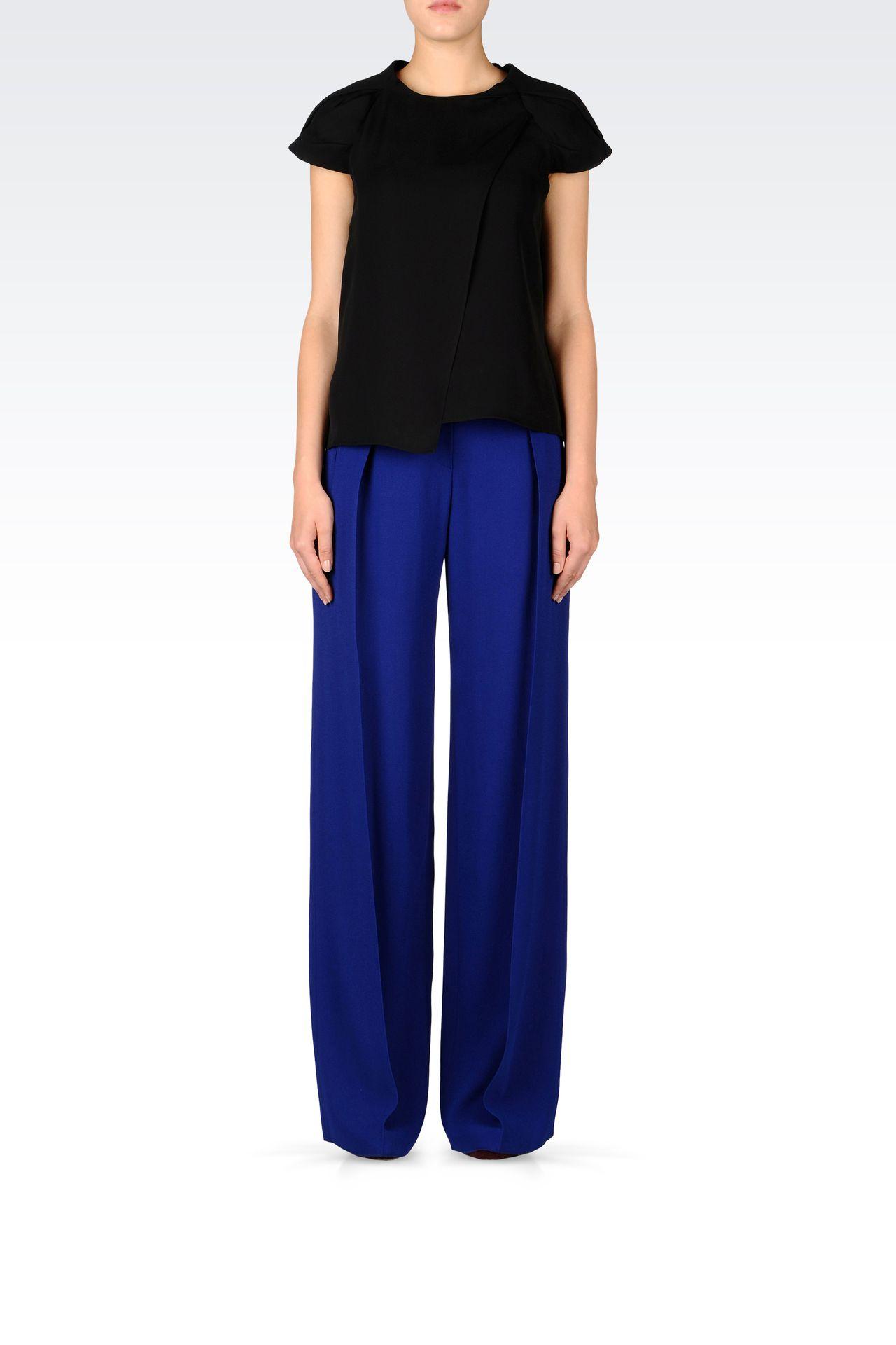 PALAZZO PANTS IN CRÊPE: Pants with tucks Women by Armani - 0