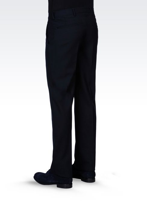 PURE VIRGIN WOOL PANTS: Straight leg trousers Men by Armani - 3