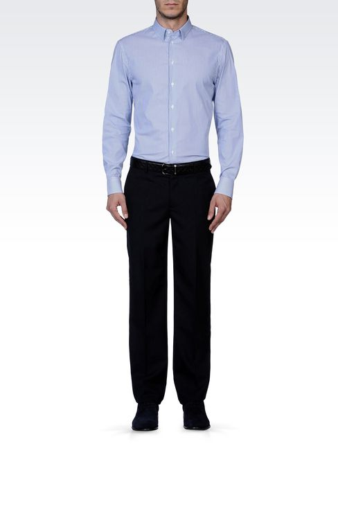 PURE VIRGIN WOOL PANTS: Straight leg trousers Men by Armani - 1