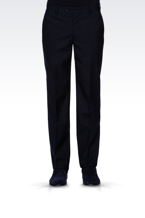 PURE VIRGIN WOOL PANTS: Straight leg trousers Men by Armani - 2