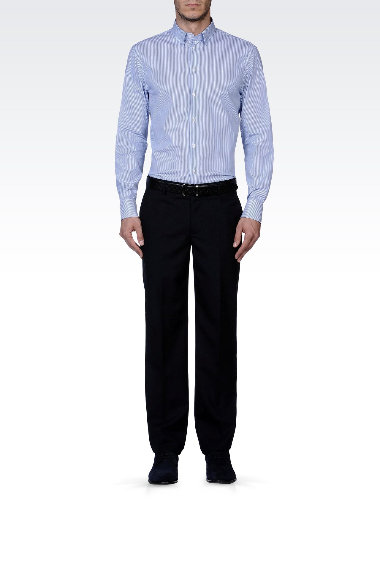 PURE VIRGIN WOOL PANTS: Straight leg trousers Men by Armani - 0