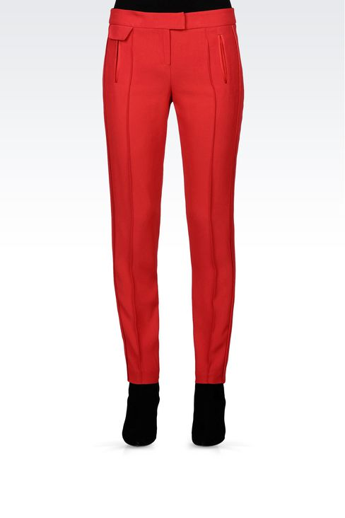 CIGARETTE PANTS IN CRÊPE : Straight leg trousers Women by Armani - 2