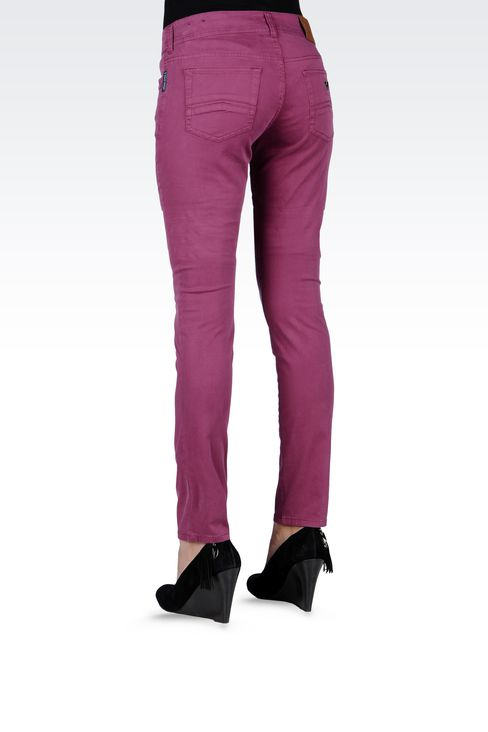 SLIM-FIT STRETCH COTTON JEANS: 5 pockets Women by Armani - 3