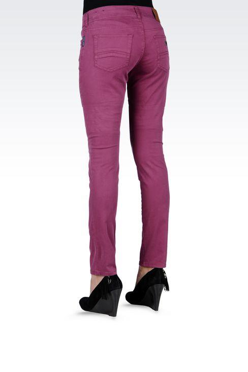 SLIM-FIT STRETCH COTTON JEANS: 5 pockets Women by Armani - 3