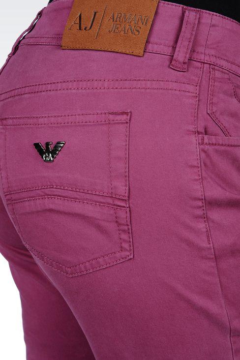 SLIM-FIT STRETCH COTTON JEANS: 5 pockets Women by Armani - 4