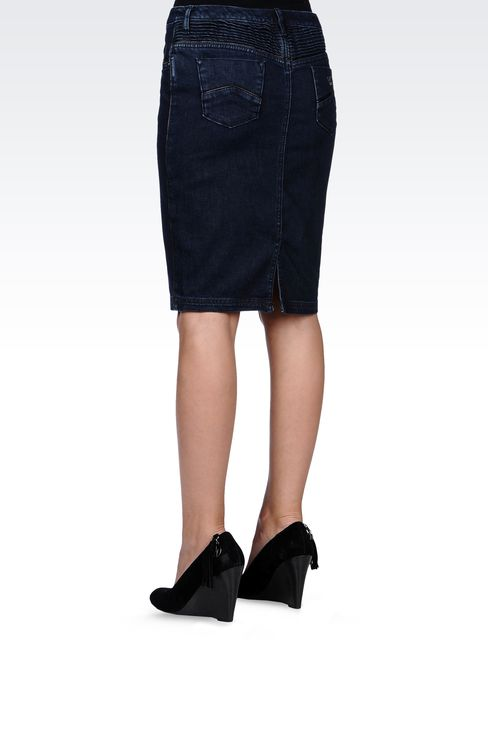 JEAN SKIRT WITH LEATHER PIPING: Denim skirts Women by Armani - 3