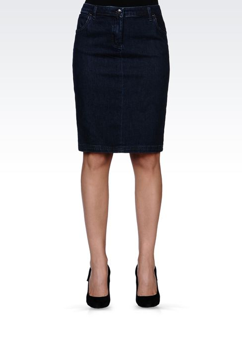 JEAN SKIRT WITH LEATHER PIPING: Denim skirts Women by Armani - 2