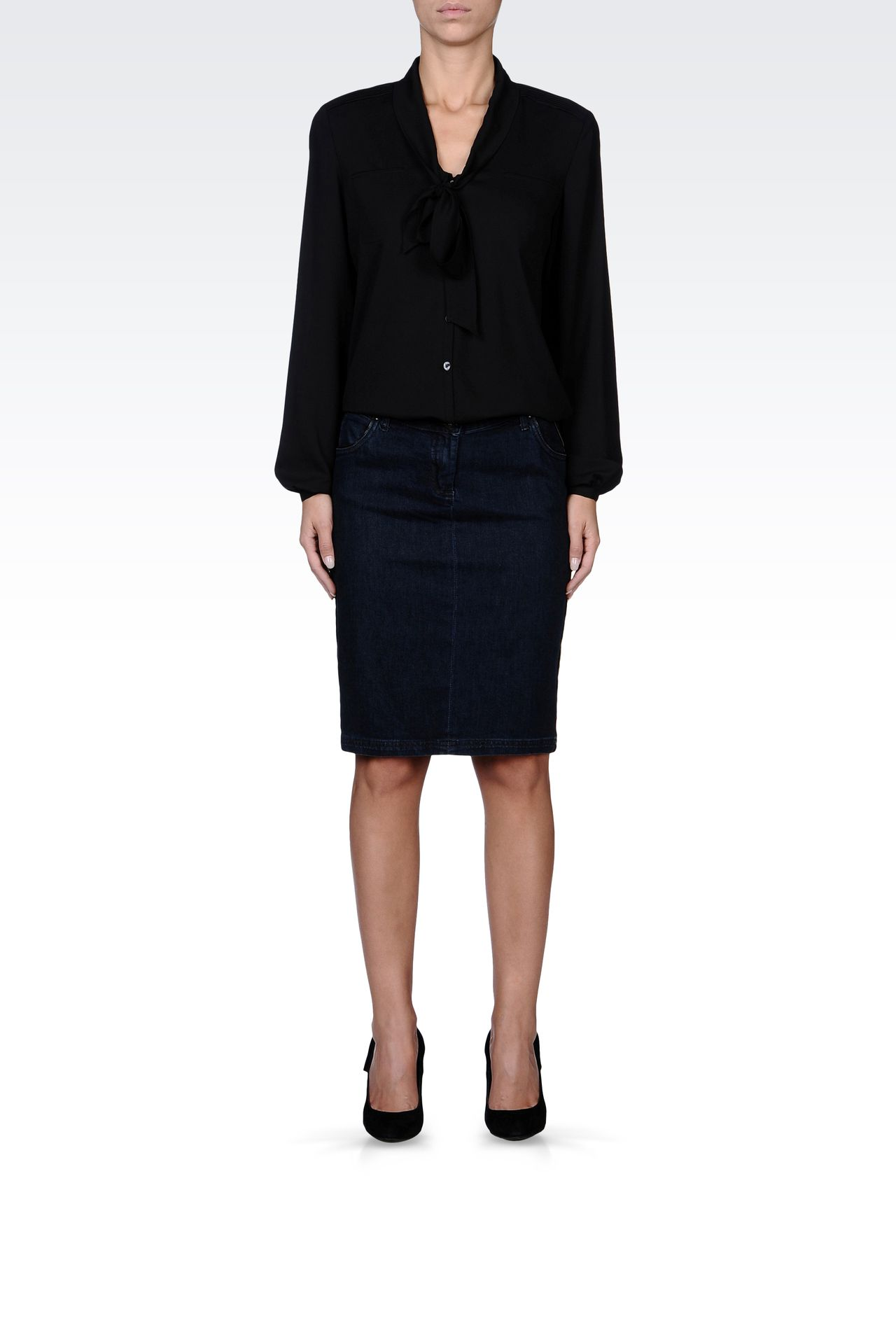 JEAN SKIRT WITH LEATHER PIPING: Denim skirts Women by Armani - 0