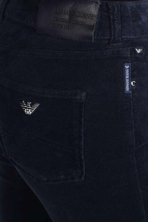 REGULAR-FIT 5 POCKET VELVET PANTS: 5 pockets Women by Armani - 4