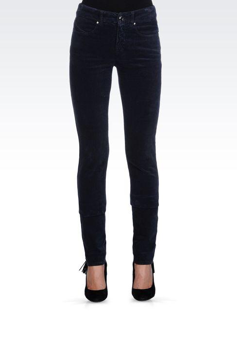 REGULAR-FIT 5 POCKET VELVET PANTS: 5 pockets Women by Armani - 2