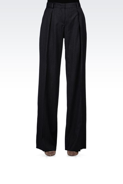 PINSTRIPE PALAZZO PANTS: Wide-leg trousers Women by Armani - 2