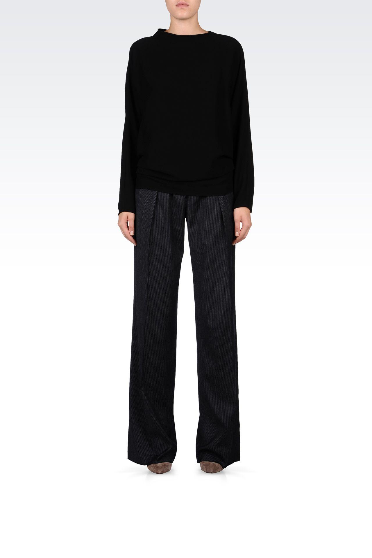 PINSTRIPE PALAZZO PANTS: Wide-leg trousers Women by Armani - 0