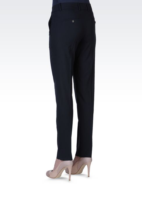 STRETCH WOOL CIGARETTE PANTS: Straight leg pants Women by Armani - 3