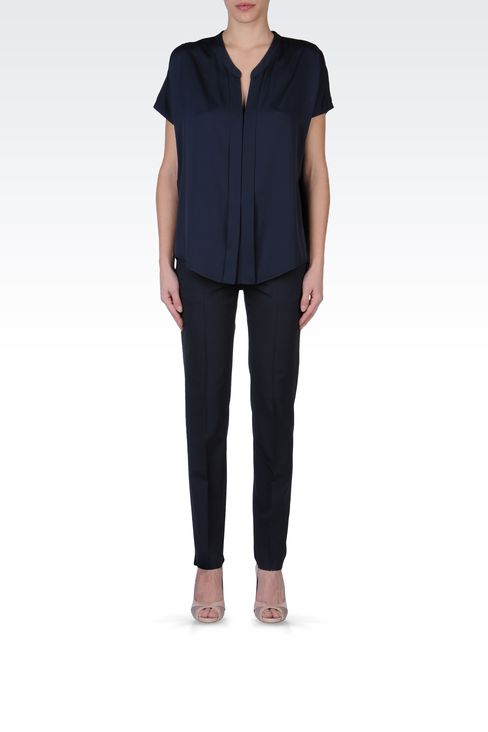 STRETCH WOOL CIGARETTE PANTS: Straight leg pants Women by Armani - 1