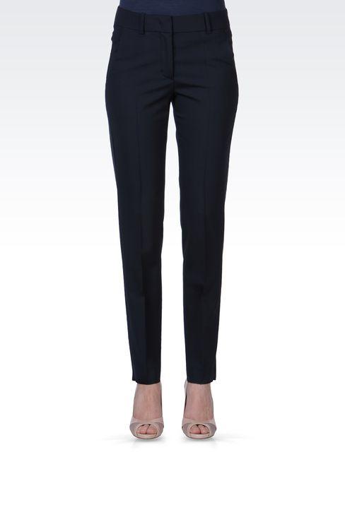 STRETCH WOOL CIGARETTE PANTS: Straight leg pants Women by Armani - 2