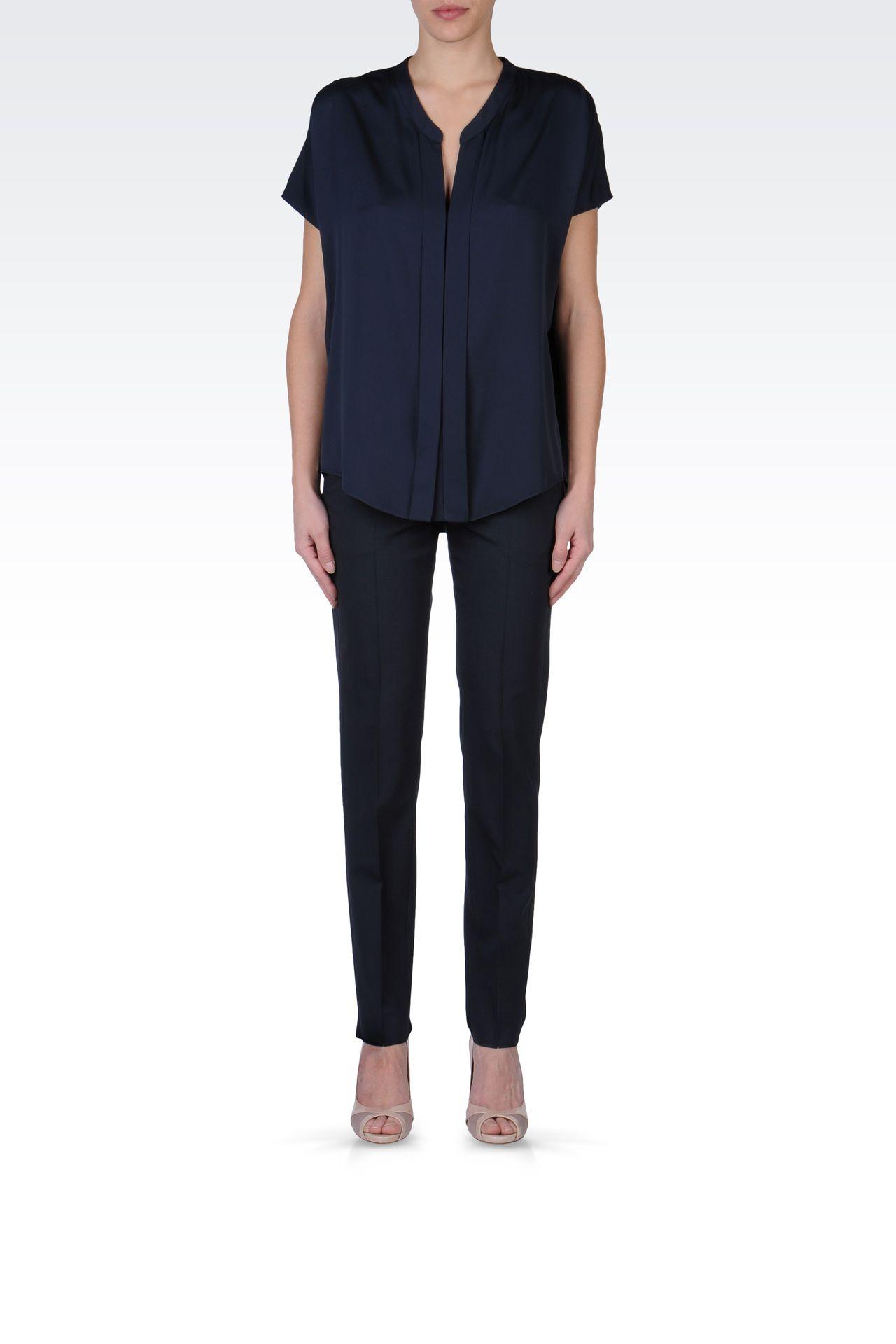 STRETCH WOOL CIGARETTE PANTS: Straight leg pants Women by Armani - 0