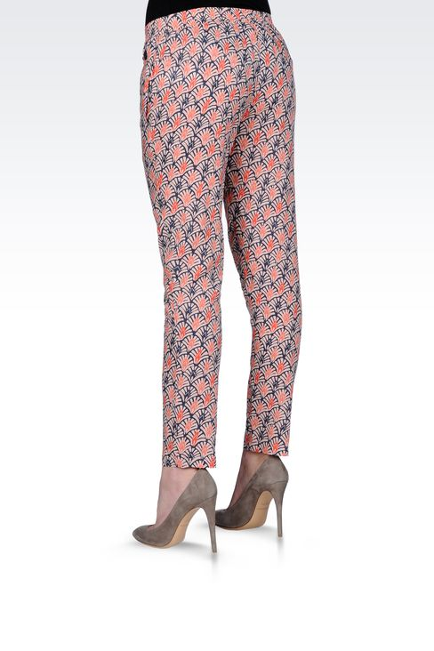 CROPPED PANTS IN PRINTED VISCOSE: Straight leg pants Women by Armani - 3