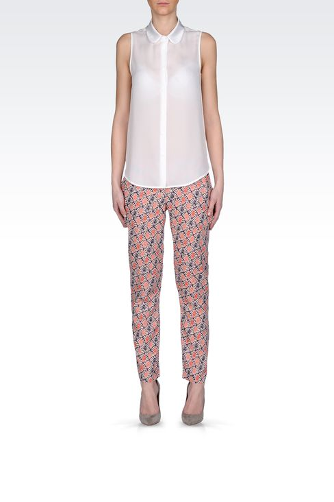 CROPPED PANTS IN PRINTED VISCOSE: Straight leg pants Women by Armani - 1