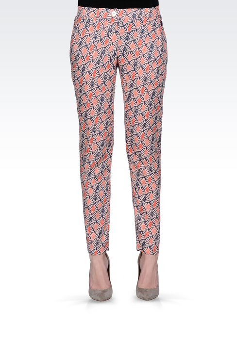 CROPPED PANTS IN PRINTED VISCOSE: Straight leg pants Women by Armani - 2